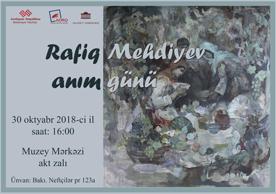 Xalq rəssamı Rafiq Mehdiyevin 85 illik yubileyinə həsr olunmuş anım günü keçiriləcək